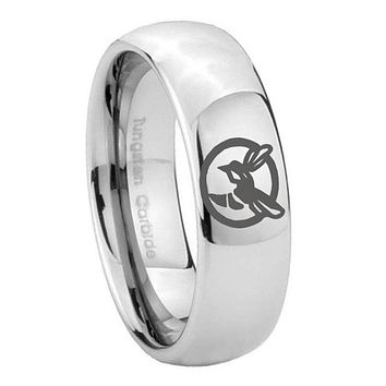 8MM Classic Mirror Dome Honey Bee Tungsten Carbide Silver Engraved Ring
