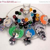 Naruto inspired geeky wine glass charms set of 5 Japanese anime charms handmade wine charms party wine charms