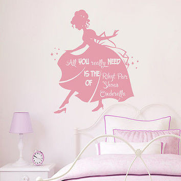 Girls Wall Decal Cinderella Quotes Sticker Girl Nursery Kids Room Decor DS400