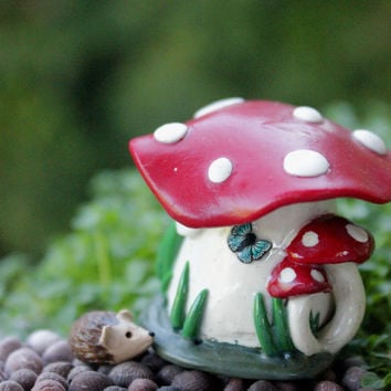Miniature mushroom house tiny fairy garden accessory gnome home