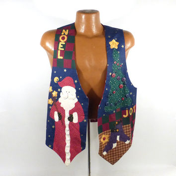 Ugly Christmas Sweater Vintage Cardigan Vest Ho Made Homemade Tacky Holiday Santa