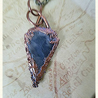 Black Agate Arrowhead Electroformed Electroplated Copper Pendant Bohemian Chic  OOAK Layering Necklace