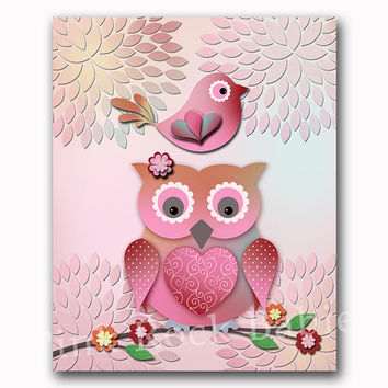 Owl nursery art floral baby girl room wall decor kids colorful decoration playroom artwork toddler poster new born print baby shower gift