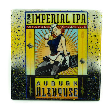 Auburn Alehouse - Weapons Grade Ale - Handmade Recycled Tile Coaster