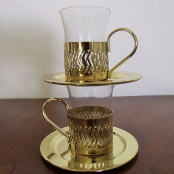 Demitasse Cups with Inserts Gold Toned Set of Two