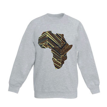 Sweater Grey with Africa Shape application, made out of Holland Vlisco waxprint, print of brown, yellow, blue, streetwear, urban