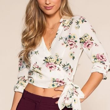 Esme Floral Top - White