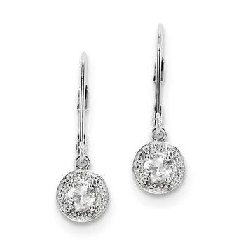 Sterling Silver White Topaz and Diamond Halo-Style Leverback Earrings