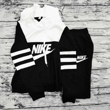 "Womens ""NIKE"" Print Hoodies Top Sweater Pants Sweatpants Set Two-Piece Sportswear G"