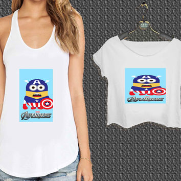 avenger minion captain america For Woman Tank Top , Man Tank Top / Crop Shirt, Sexy Shirt,Cropped Shirt,Crop Tshirt Women,Crop Shirt Women S, M, L, XL, 2XL*NP*