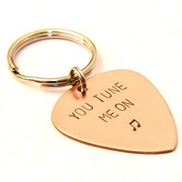 Copper keychain for 7th anniversary , anniversary gift , wedding gift   - KC2755