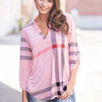 Hand In Hand Chic Plaid Printed Top (Peach)