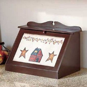 Wood Bread Box Vintage Americana Kitchen Country Storage Bin Countertop Rustic
