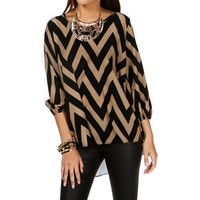 Black/Tan Chevron Split Back Top