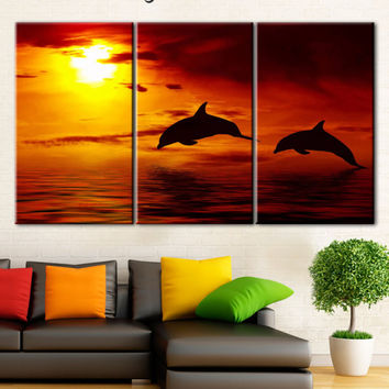 Dolphins, Sunset, Ocean waves, Dolphins canvas, Under the sea, Sea life, Blue sea, Sea wall print, Sea wall art, Dolphin wall canvas