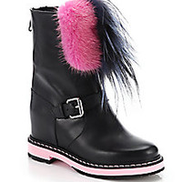 Fendi - Caroline Mixed Fur-Trimmed Leather Wedge Booties - Saks Fifth Avenue Mobile