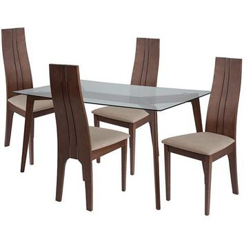 Baldwin 5 Piece Walnut Wood Dining Table Set with Glass Top and Padded Wood Dining Chairs