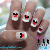 Mickey Mouse & Minnie Mouse Red Ears Disney Nail Art Water Transfer Decal - Waterslide Paper - Water Slide Paper