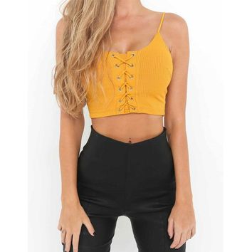 Womens Sleeveless LaceUp CropTop