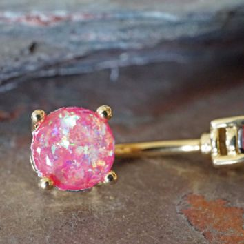 Pink Opal Gold Belly Button Jewelry Ring