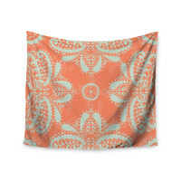 "Nandita Singh ""Motifs in Peach"" Orange Floral Wall Tapestry"