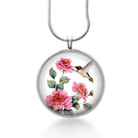 Hummingbird with pink roses necklace ,bird gifts for women, statement jewelry