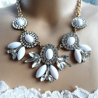 J. Crew Style Inspired Rhinestone Flower Bubble Necklace ,White bubble Statement Necklace,Crystal necklace ,bridesmaid gifts, bib necklace