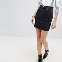 ASOS Denim Original High Waisted Skirt in Washed Black at asos.com