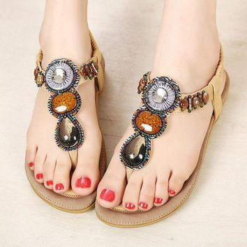 Women Summer shoes 2017 hot breathable Bohemia Sandals women fashion string bead women