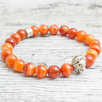 Orange agate stone beaded silver Lion head stretchy bracelet, yoga bracelet, mens bracelet, womens bracelet