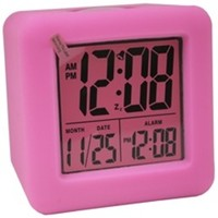 Pink Cubed LCD Digital Alarm Clock - College dorm alarm clock dorm room necessities must have college product dorm room needs