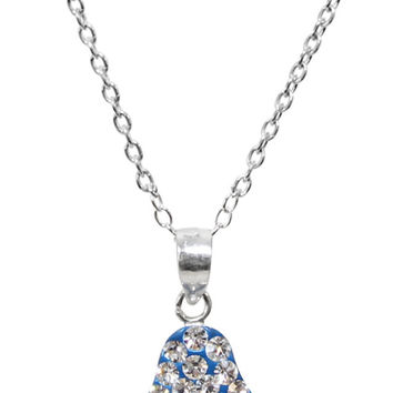 "Silver Hamsa Necklace With Blue/Silver Stones - Chain 18"" Pendant 1/2""H X 1/2""W"