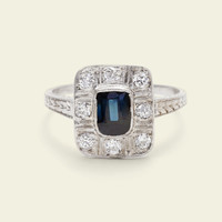 Art Deco Rectangular Sapphire and Diamond Cluster Ring
