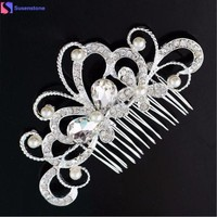 DCCKU7Q Bridal Wedding Butterfly Pearl Hairpin Hair Clip Comb Jewelry