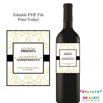 Only the best PARENTS get promoted to GRANDPARENTS Personalized Wine Label Pregnancy Announcement Baby Reveal Ideas Printable Download