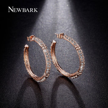 NEWBARK Hoop Earrings Big Round Earring For Women Luxurious Brincos Unique Clear Rhinestone Paved Rose Gold Color Jewelry Gift