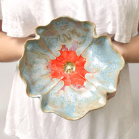 Poppy Bowl stoneware pottery dinnerware bowl Ice Blue by MarciG