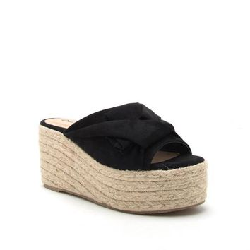 Women's Knotted Mule Wedge Platform Sandal