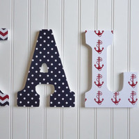 Wall Letters Nursery  Wall Decor Wooden Letters Red by fabbdesigns