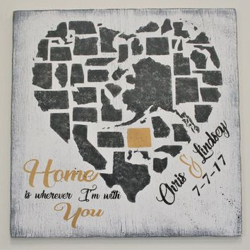Home Is Wherever I am With You Wood Sign Wedding Gift