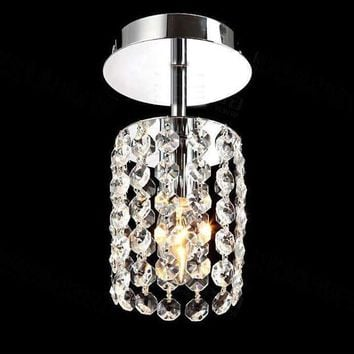 Mini Modern Luxury led Teardrop Crystal Chandelier for Bedroom Corridor Hallway Wall Ceiling Lamp Chrome Base Led Downlight
