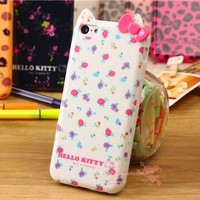 Cute Hello Kitty Bow Flower Leopard Silicone Rubber TPU Case For iphone 5C Hot