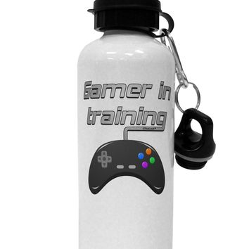 Gamer In Training Color Aluminum 600ml Water Bottle by TooLoud