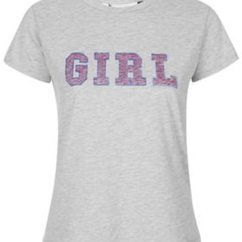 Girl Gang Tee By Tee and Cake - Grey Marl
