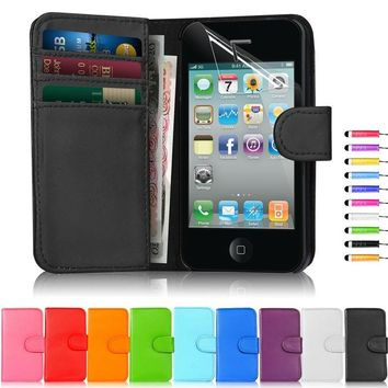 New Fashion Pu Leather Dirt-resistant Flip Wallet Coque Cover Case For Iphone 4 4s 5 5S 6 plus   Phone Case Free Gift