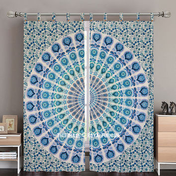 White and Blue Nerita Medallion Circle Tapestry Curtain Panel Pair on RoyalFurnish.com