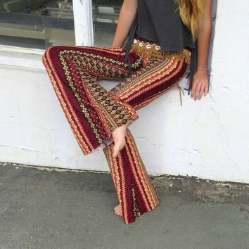 BOHEMIAN sexy Indian print  fall fashion cotton rayon 70's flare leg gypsy hippie retro festival yoga beach lounge bell bottoms
