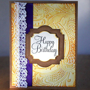 Happy Birthday, Card, Birthday for Her, Feminine Birthday, Spring Colors, Blank Birthday, by Mrs. Kristen Creations