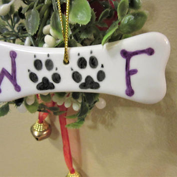 Dog bone Christmas Ornament WOOF Porcelain Ceramic Pottery Hand Painted  blm