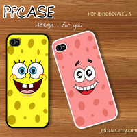 Spongebob face and Patrick star face with summer beach style : Handmade Case for Iphone 4/4s , Iphone 5 Case Iphone